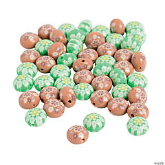 Brown & Green Flower Polymer Beads - 12mm