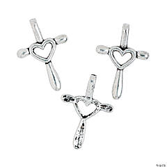 Cross Heart Charms - 22mm x 32mm