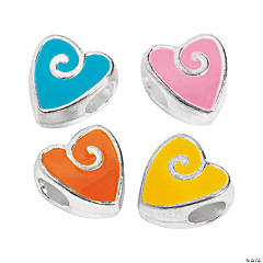 Swirl Heart Large Hole Beads - 11mm