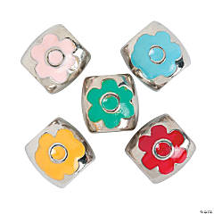 Enamel Flower Large Hole Beads - 9mm