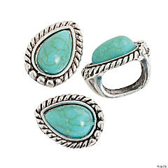Large Teardrop Turquoise Slide Charms