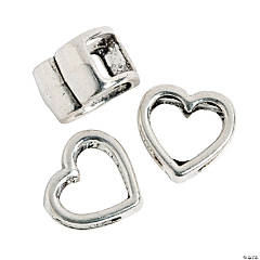 Large Open Heart Slide Charms