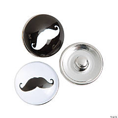 Large Mustache Snap Beads - 19mm