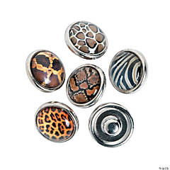 Small Animal Print Snap Beads - 12mm