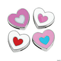 Small Enamel Double Heart Slide Charms