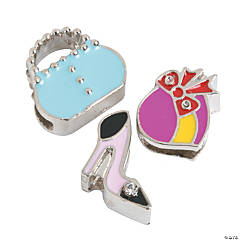Small Enamel Hat, Shoes & Purse Slide Charms - 9mm