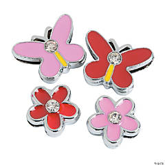 Small Enamel Butterfly & Flower Slide Charms