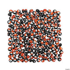 Orange & Black Beads - 8mm
