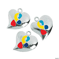 Autism Awareness Ribbon Heart-Shaped Charms