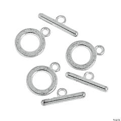 Plain Silvertone Toggle Clasp - 13mm ring, 19mm bar