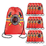 Firefighter Party Drawstring Backpacks