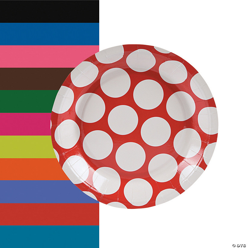 sc 1 st  Oriental Trading & Large Polka Dot Paper Dessert Plates