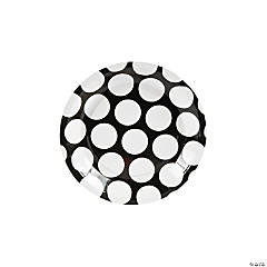 Large Black Polka Dot Dessert Plates