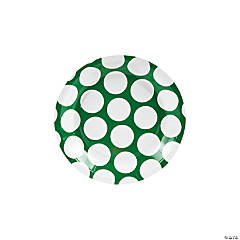 Green Large Polka Dot Dessert Plates