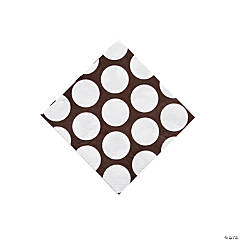 Large Chocolate Brown Polka Dot Beverage Napkins