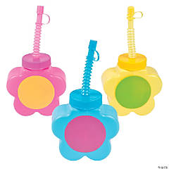 Daisy Molded Cups with Lids & Straws