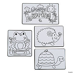 Color Your Own Spring Character Magnets