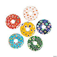 Multicolor Millefiori Donut Beads - 20mm