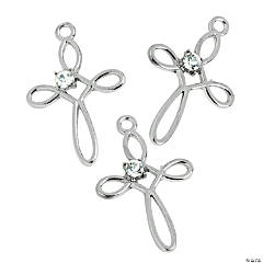 Loop Cross Charms with Rhinestone