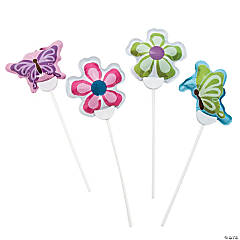 Mylar Butterflies & Flowers Self-Inflating Balloons