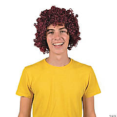 Team Spirit Burgundy Afro Wig