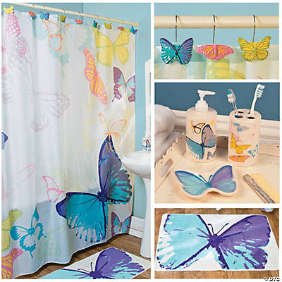 Spring butterfly bath set party supplies bath home for Spring bathroom decor