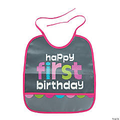 1st Birthday Girl Chalkboard Bib