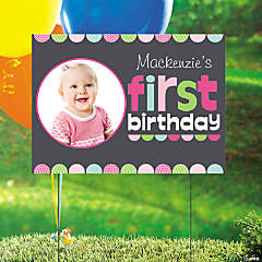 Custom Photo 1st Birthday Chalkboard Girl Yard Sign