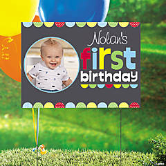 Custom Photo 1st Birthday Chalkboard Boy Yard Sign