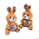 Plush Bunnies with Printed Heart