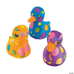Plush Easter Bright Polka Dot Ducklings