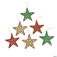 Glittered Star Christmas Ornaments