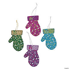 Glittered Mitten Christmas Ornaments