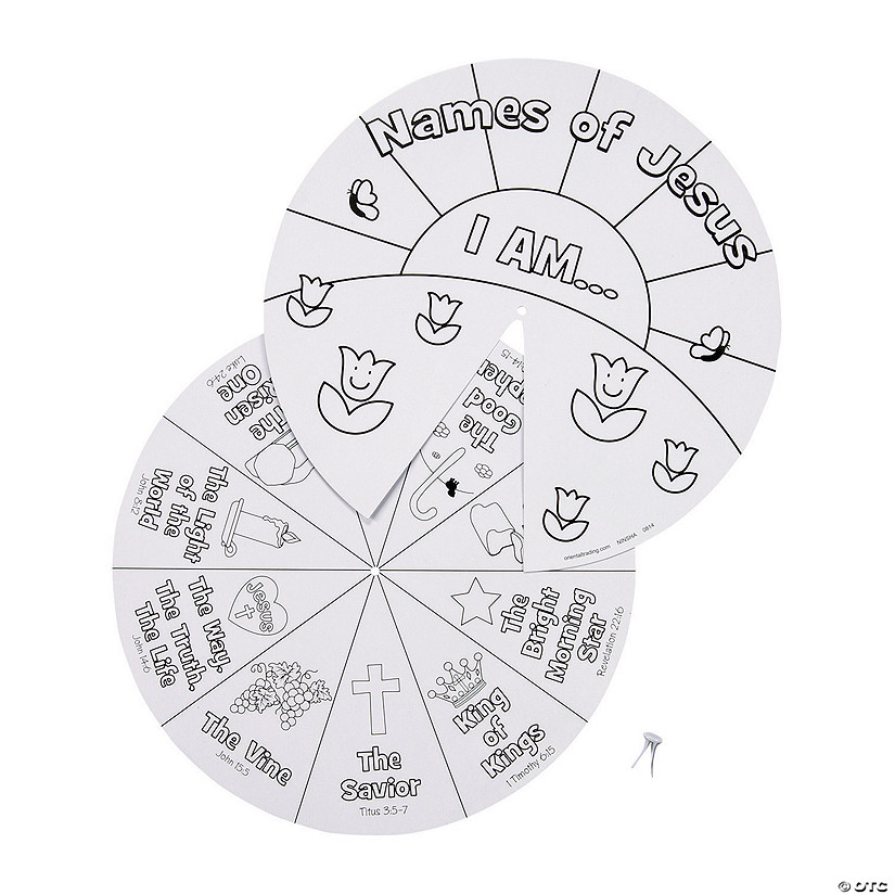 Color Your Own Names of Jesus Learning Wheels