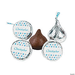 Personalized Blue Polka Dot Hershey® Kiss