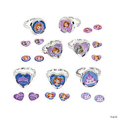 Plastic Sofia the First Days of the Week Sticker Earrings & Rings Set