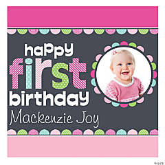 1st Birthday Girl Custom Photo Mini Square Banner