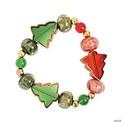 Red & Green Christmas Tree Beaded Bracelet Idea