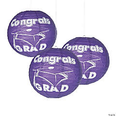 Purple Congrats Grad Paper Lanterns