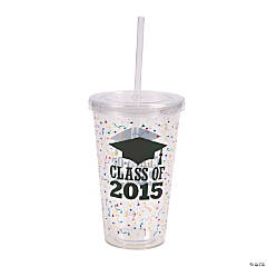 Class of 2015 Printed Tumbler with Straw