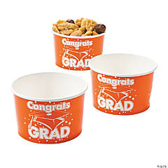 Orange Congrats Grad Snack Bowls
