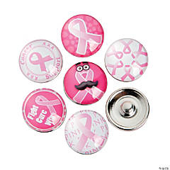 Large Pink Awareness Ribbon Snap Beads - 18mm