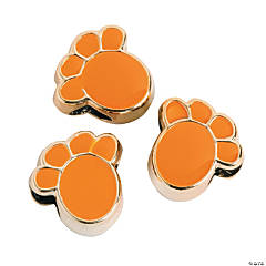 Plastic Orange Paw Beads