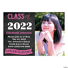 Chalkboard Custom Photo Grad Invitations