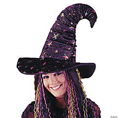 Rainbow Velvet Witch Hat for Adults