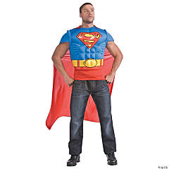 Superman Muscle Shirt Cape Costume for Men