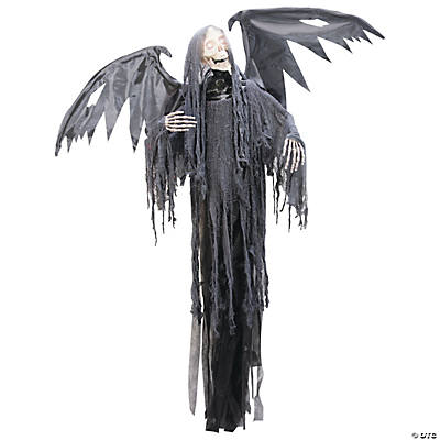 Hanging grim reaper with animated wings scary halloween for Animated flying reaper decoration