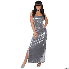 Long Silver Sequin Dress for Women