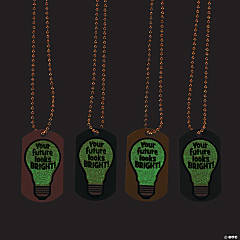 Glow-in-the-Dark Your Future Looks Bright Dog Tag Necklaces