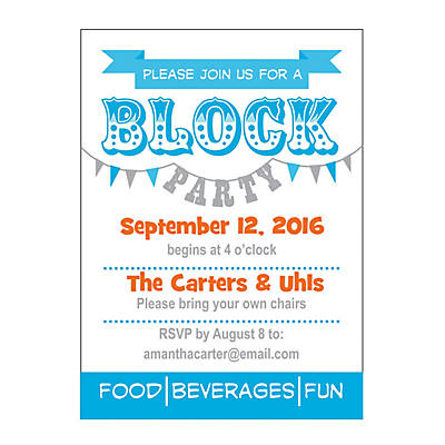 personalized block party invitations - oriental trading - discontinued, Party invitations